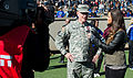 An ESPN U sideline reporter interviews Chairman of the Joint Chiefs of Staff Gen. Martin E. Dempsey during the Army versus Air Force football game at Falcon Stadium in Colorado Springs 131102-D-KC128-646.jpg