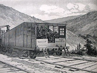 Rail inspection - An Inspection Car on the Pennsylvania Railroad, an 1882 wood engraving from Harper's Weekly