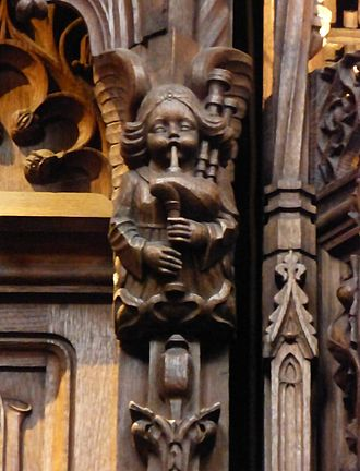 Great Highland bagpipe - Angel playing bapipes in the Thistle Chapel, Edinburgh