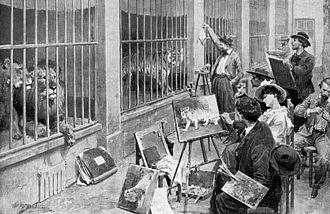 """Ménagerie du Jardin des plantes - Animal artists at the Jardin des Plantes, Paris. From the magazine """"L'Illustration"""", 7 August 1902."""