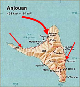 Anjouan - Map of the 2008 invasion of Anjouan by Comoran and African Union troops