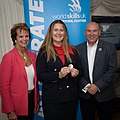 Anne Milton, Minister for Apprenticeships and Skills, (L) Collette Gorvett, Dr Neil Bentley-Gockmann, CEO, WorldSkills UK (R) 2019.jpg