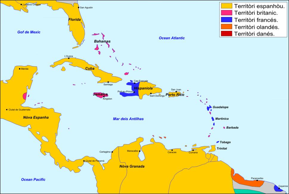 Antilhas - Peri%C3%B2de coloniau v%C3%A8rs 1790