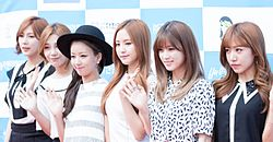 Apink at Hanbitsa Awards, 21 June 2015.jpg