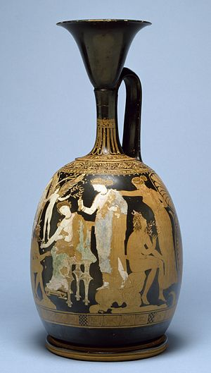 "Kerch style - Apollonia Painter - Late Classical Red-Figure ""Kerch""-Style lekythos, c. 350 BC, height: 35.5 cm (14 in), diameter: 16.7 cm (6.6 in)"
