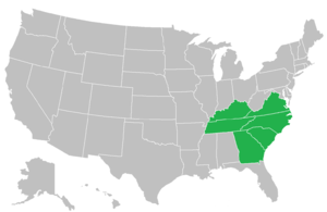 Appalachian Athletic Conference - Image: App AC conference map
