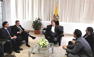 Ares J. Rosakis - Ares Rosakis, G. Ravichandran, and José Andrade with Ecuador's President Rafael Correa and Secretary René Ramírez, SENESCYT, discussing Yachay International University and City of Knowledge.
