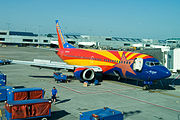 Southwest's tribute to Arizona undergoes maintenance at Portland International Airport