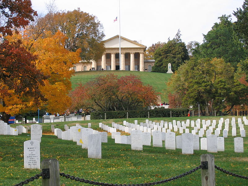 Arlington National Cemetery, view with autumn foliage and Lee House