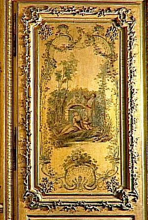 Vernis Martin - Vernis Martin boiserie, in the boudoir of the Dauphine, Marie-Josèphe de Saxe, Versailles
