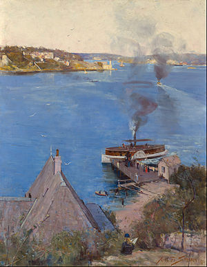 McMahons Point ferry wharf - From McMahon's Point - fare one penny by Arthur Streeton, which depicts McMahons Point wharf in 1890.