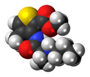 Space-filling model of the articaine molecule