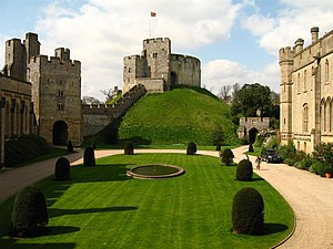 Arundel Castle -  View of Arundel Castle's Norman motte with the quadrangle in the foreground.