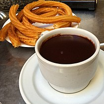 At San Gines again. One of the oldest chocolate con churros in Madrid (18761909709).jpg