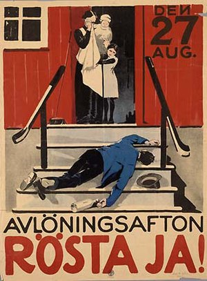 Swedish prohibition referendum, 1922 - Image: Avlöningsafton Rösta ja! 1922