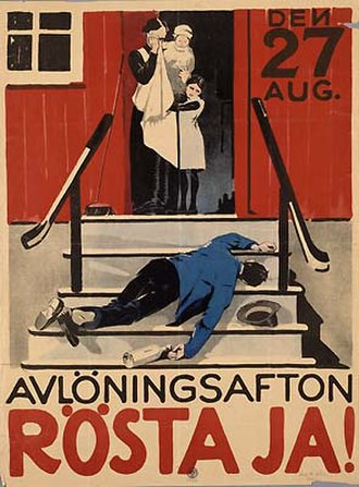 Museum of Spirits - Image: Avlöningsafton Rösta ja! 1922