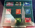 Azad Hind stamps released by Indian National Army in display at Netaji Birth Place Museum, Cuttack, Odisha, India.jpg