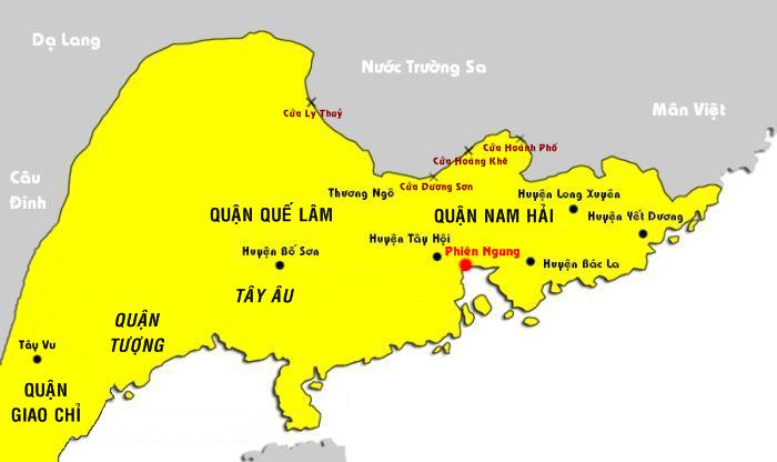 Bản đồ các quận phía Đông Bắc nước Nam Việt