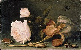 Still Life with Rose and Iris