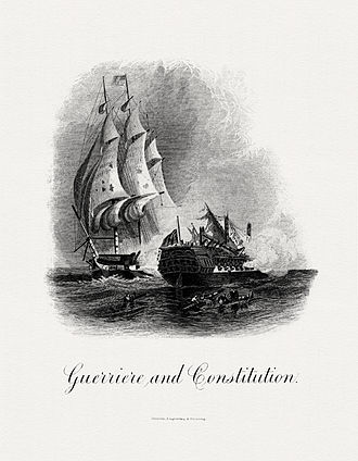 USS Constitution vs HMS Guerriere - Guerriere and Constitution, a BEP engraving.
