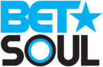"The logo for BET Soul. The letters ""B-E-T"" appear in a bold blue font, with a star of the same size on the right. Below those letters, black bold capital letters spell out ""soul"", with the O in ""soul"" consisting of a small bullseye figure with black on the outer circle, a thin blue circle within it, and a large white circle as the last inner circle."