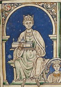 miniature représentant, sous une arcade, assis sur un trône, le roi Henri II portant une église