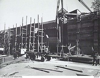 Cairncross Dockyard - Dock gate under construction, circa 1942