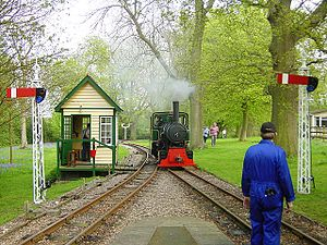 Bredgar and Wormshill Light Railway - Locomotive Bronhilde on woodland track near Warren Wood station