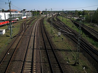 Itzehoe station - View over the tracks, on the left is the location of the former Itzehoe workshop, on the right is the hump