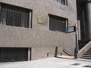 Bombing of Plaza de Mayo - Bullet-ridden outer wall of the Ministry of Economy, pictured in 2009.