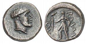 Ballaios - Bronze coin of King Ballaios of Epirus. Head of Ballaios. Rv.Artemis holding torch, inscription: ΒΑΛΛΑΙΟΥ (of Ballaios).