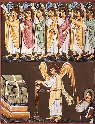Seven trumpets - The seven angels with seven trumpets, and the angel with a censer, from the Bamberg Apocalypse.