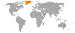 Map indicating locations of Bangladesh and Denmark