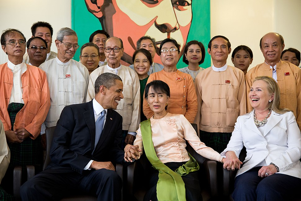 Barack Obama and Hillary Clinton at home of Aung San Suu Kyi