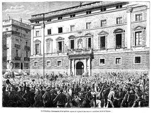 Barcelona, proclamación de la república, aspecto de la plaza de San Jaime en la mañana del 21 de febrero, de Pellicer