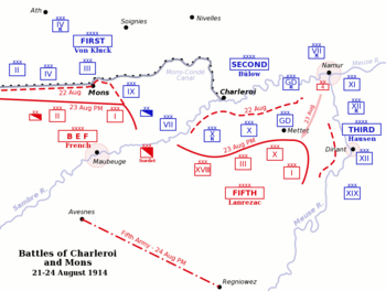 Map of the Battles of Charleroi and Mons, sout...