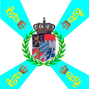 Bavarian Army - Flag of a Royal Bavarian Army Infantry Regiment bearing King Ludwig's royal monogram