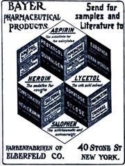 Advertisement for Aspirin, Heroin, Lycetol, Salophen