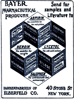 Old advertisement for Bayer pharmaceuticals, u...