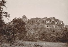 Baz Bahadur's Palace at Mandu in Madhya Pradesh in the 1880s.jpg