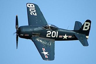 Grumman F8F Bearcat - An F8F Bearcat war bird over Fly Navy Day 2016