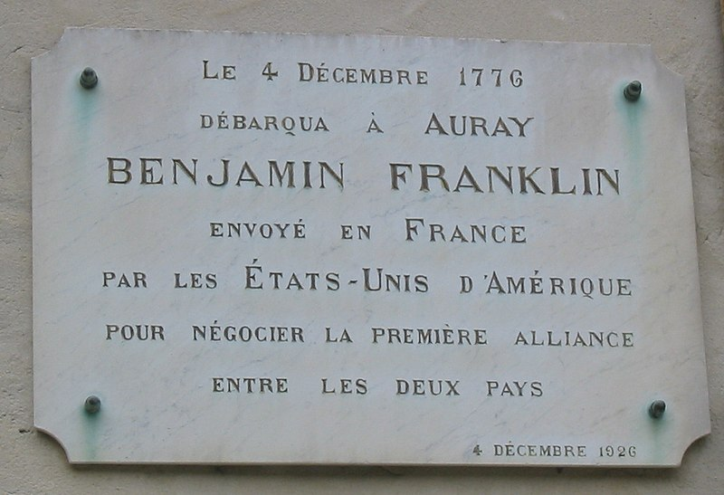 Benjamin Franklin plaque Auray