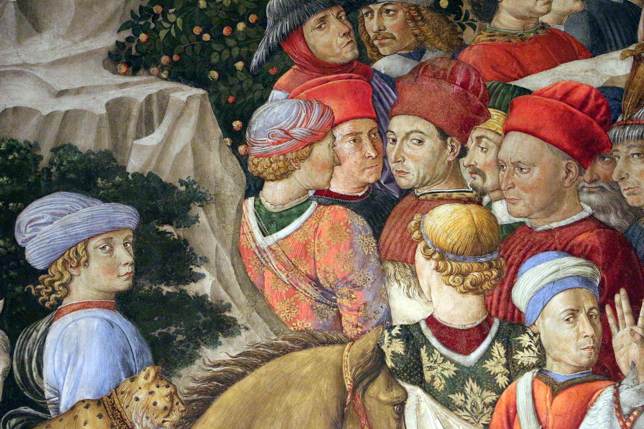 Benozzo Gozzoli, Procession of the Old King (west wall), 1459-60, fresco, Chapel, Palazzo Medici-Riccardi, Florence