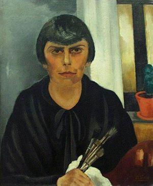 Else Berg - Self-portrait with Brushes (1929)