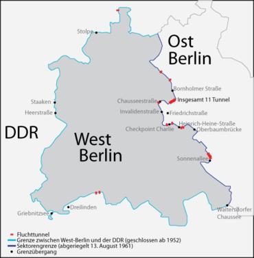 Bau Der Berliner Mauer Karte.Liste Der Fluchttunnel In Berlin Während Der Deutschen Teilung