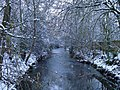 Beverley Brook by Palewell Common, in snow - geograph.org.uk - 2203180.jpg