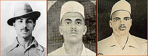 Revolutionary movement for Indian independence - Bhagat Singh, Sukhdev Thapar, and Shivaram Rajguru