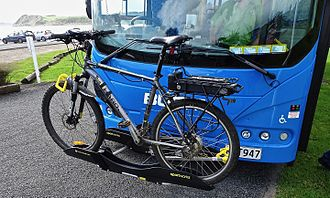 Bicycle carrier - Sportworks bike carrier on a Volvo B7RLE GoBus in 2017