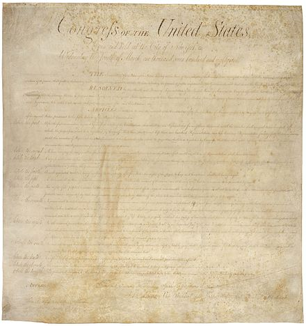 "The United States Bill of Rights influenced the text of the Charter, but its rights provisions are interpreted more conservatively. Canadian civil-rights and constitutional cases as compared to American cases occasionally have dissimilar outcomes because the broader Charter rights are limited by the ""savings clause"" of section 1 of the Charter as interpreted in R. v. Oakes Bill of Rights Pg1of1 AC.jpg"