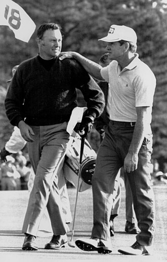 Billy Casper - Gene Littler (right) congratulates Casper with winning the 1970 Masters Tournament